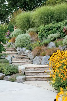 Urban Garden Lovely terraced staircase - Add stylish touches to your outdoor space with these landscaping ideas using stone: ideas for paths, patios, firepits, showers, and more. Gravel Patio, Gravel Garden, Lush Garden, Pergola Patio, Pergola Plans, Pergola Kits, Patio Chairs, Pergola Ideas, Backyard Patio