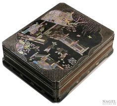 A rectangular, black lacquered box with mother-of-pearl inlays, (luodian), China, late Ming (1368-1644) or early Qing dynasty (1644-1911), 16th-17th century. Photo Nagel