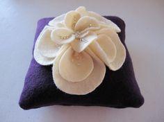 Ring Bearer Pillow Wedding Purple Ivory magnolia choose your colors #ringbearerpillow by ArtisanFeltStudio, $45.00