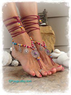 Magenta SUNFLOWER BAREFOOT Sandals Hippie Summer BIKINI by GPyoga