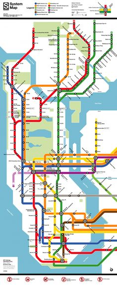 Know the lines and stops: New York City Subway Map.