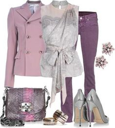 Lavender double breasted jacket; dark purple jeans; silvery lilac dressy belted top & matching accessories.