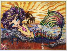 Mermaid Beach, Mermaid Art, Colouring Pages, Coloring Books, Enchanted Characters, Meaningful Drawings, Hannah Lynn, Pin Up Posters, Gothic Fairy