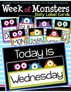 Week of Monsters Daily Label Cards from Kinder Craze on TeachersNotebook.com - (50 pages) - Days of the week calendar pieces in a cute monster theme for classroom calendar. Each piece shows a bright and cute monster figure.