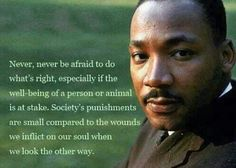 Never, never be afrais to do what's right.....MLK