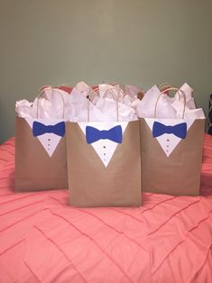 Handmade Cott'n Gift Bags for your Guests and Customers - CottnLove Groomsmen gift bag wrapping idea decor usher gift wedding suit sack tuxedo present bow tie decoration button detail mens manly bag c Groomsmen Gift Bags, Groomsmen Presents, Wedding Gifts For Groomsmen, Groomsman Gifts, Wedding Suits, Wedding Gift Wrapping, Wedding Gift Bags, Creative Gift Wrapping, Wrapping Ideas