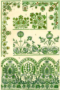 Hungarian Embroidery Patterns Free Clip Art and Digital Collage Sheet - Magyar Ornament Hungarian Embroidery, Folk Embroidery, Learn Embroidery, Embroidery Patterns Free, Embroidery Designs, Polish Embroidery, Chain Stitch Embroidery, Embroidery Stitches, Stitch Head