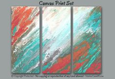 Abstract canvas art print set designed for coral aqua home or office wall decor. Ideal for a beach theme. Artist - Denise Cunniff - ArtFromDenise.com. View more info at https://www.etsy.com/listing/246834098
