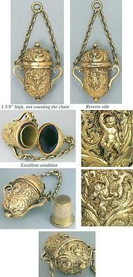 Antique Gilded Chatelaine Thimble Holder w Cupids or Angels English C1890 | eBay