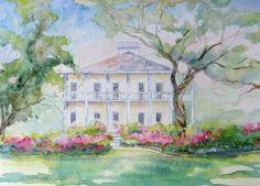 love watercolor houses  beautiful pastel colors