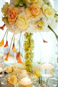 This bright yellow floral arrangement would be perfect for a spring or summer wedding. Featured Photographer: Don Hwang of Olli Studio; Yellow Wedding, Mod Wedding, New York Wedding, Wedding Shoot, Wedding Themes, Wedding Ideas, Wedding Details, Summer Wedding, Dream Wedding