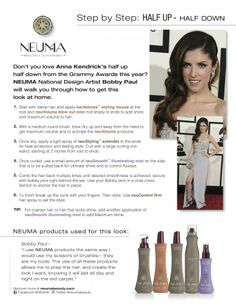 Who doesn't want hair like Pitch Perfect's Anna Kendrick?!  NEUMA: StepByStep how to: Half Up-Half Down