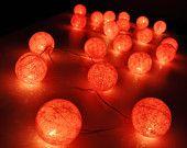 Luces de cadena de bola de algodón dulce de color rosa para Patio, boda, fiesta y decoración (20 Bombillas)
