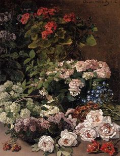1864 Claude Monet (French Impressionist, 1840-1926) ~ Spring Flowers