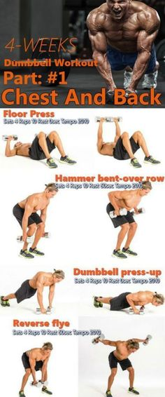This is a fast paced dumbbell Strength Training program for the back and chest. The dumbbell-only circuit to carve your chest and back in the part 1 of 4 week workout. Just grab a pair of trusty weights to achieve extraordinary results in your upper body. Back Workout Men, Chest And Back Workout, 4 Week Workout, Home Workout Men, Workout Plan For Men, Workout Plans, Home Chest Workout, Back Workout At Home, Men Exercise