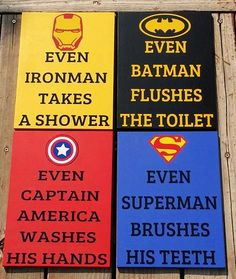 superhero bathroom sets. Superhero Bathroom Signs Decor Set of by WordArtTreasures PRINTS Art Brush Your Teeth Wash Hands