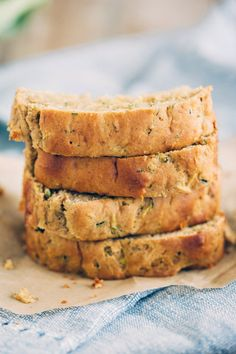 This healthy zucchini bread is super moist, easy to make and lightly sweetened with honey and brown sugar for the perfect lightened-up dessert!