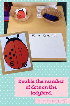 Double the number of dots on the ladybirds' wings. Maths Eyfs, Eyfs Activities, Literacy Games, Teaching Numbers, Math Numbers, Math Stations, Math Centers, What The Ladybird Heard Activities, Key Stage 1 Maths