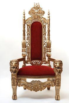 Antique Gold Throne Chair $600