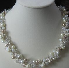 Pearl Crystal Wedding Statement Necklace by SerebaDesigns on Etsy, $70.00