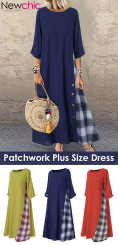 Cheap best Casual Patchwork Button High Low Hem Plus Size Dress on Newchic, there is always a plus size casual dresse suits you! Stylish Dresses, Casual Dresses, Fashion Dresses, Other Outfits, Cool Outfits, Dress Outfits, Different Types Of Dresses, Patchwork Dress, Plus Size Casual
