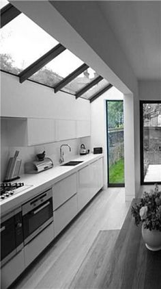 Kitchen extension / renovation with simple glass roof design, this is very achievable on your typical london terrace. (from george clarke website) Outdoor Kitchen Design, Modern Kitchen Design, Home Decor Kitchen, Kitchen Interior, New Kitchen, Home Kitchens, Kitchen Ideas, Narrow Kitchen, Interior Modern