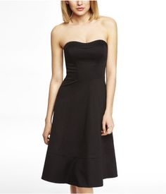 STRAPLESS FIT AND FLARE MIDI DRESS | Express