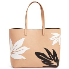 Women's Chelsea28 Tropical Applique Faux Leather Tote ($79) ❤ liked on Polyvore featuring bags, handbags, tote bags, tan sugar, zip top tote, red handbags, handbags totes, vegan leather tote and red purse