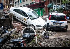 Genoa, Italy. 10th Oct, 2014. Flash #floods swept through the northwestern Italian city of #Genoa. Shop windows were smashed, cars washed aside and many streets were left knee deep in muddy water. © NurPhoto/Alamy Live News