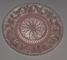 Westmoreland Sandwich Glass Princess Feather Luncheon Plate in peach/pink