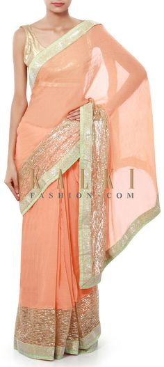 Buy Online from the link below. We ship worldwide (Free Shipping over US$100). Product SKU - 316715. Product Price - $69.00. Product link - http://www.kalkifashion.com/peach-saree-enhanced-in-sequin-border-only-on-kalki.html