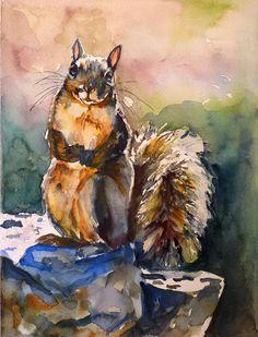 Squirrel Watercolor Art Print by Maure Bausch. $12.50, via Etsy.