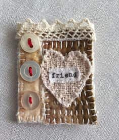 Handmade brooch made in Cornwall by M Stephens Artist Hand stitched with Vintage buttons