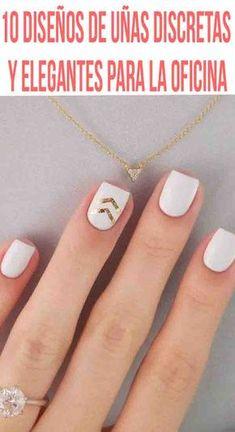 10 diseños de uñas discretas y elegantes para la oficina Quieres tener las uñas pintadas sin que sean el completo centro de atención. Traer las uñas arregladas es importante pero tampoco es necesario traerlas de colores muy llamativos o con mucho brillo