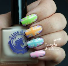 Lucy's Stash-Pastel Union Jacks nail art manicure  Love this
