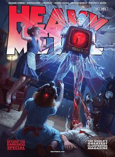Heavy Metal Cvr A by Flavio Greco Paglia New! Arte Heavy Metal, Heavy Metal Comic, Metal Magazine, Magazine Art, Pulp Magazine, Creepy Images, Fantasy Book Covers, Cartoon Girl Drawing, Horror Comics