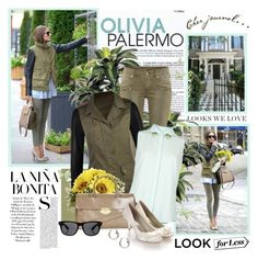 """""""Look for less - Olivia Palermo"""" by helleka ❤ liked on Polyvore featuring KRISVANASSCHE, H&M, VILA, Topshop, Monsoon, All Day, J.Crew, LookForLess, khaki and tophandlebags"""