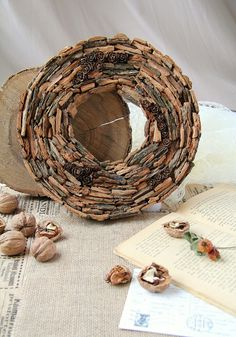 Rustic bark wreath, Bark and pine cones wreath, Front door natural wreath, Forest home decor, Rustic wall decor Dried Flower Bouquet, Dried Flowers, Wreaths For Front Door, Door Wreaths, Moss Wreath, Country Wreaths, Candle Centerpieces, Rustic Wall Decor, Farmhouse Style Decorating