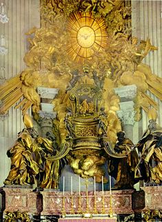 The Altar of the Chair by Bernini, 1666   The Church Doctors are from left to right: St. Ambrose, St. Athanasius, St. John Chrysostom, and St. Augustine