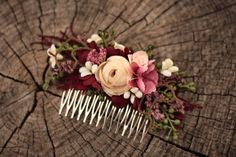 Blumen Haarkamm, Hochzeit Haarkamm silk flowers, dried and stabilized flowers size 14cm