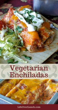 Easy, healthy enchiladas made with refried beans, mushrooms and a homemade sauce. Skip the cheese for a vegan version! Bean And Cheese Enchiladas, Enchiladas Healthy, Vegetarian Enchiladas, Vegetable Enchiladas, Spinach Enchiladas, Black Bean Enchiladas, Vegetarian Casserole, Vegetarian Main Dishes, Vegetarian Recipes Dinner