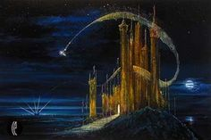 Disney Fine Art - The Gold Castle. Tinkerbell. Biggs Ltd. Gallery. Heirloom quality bridal, art, baby gifts and home decor. 1-800-362-0677. $1,100.