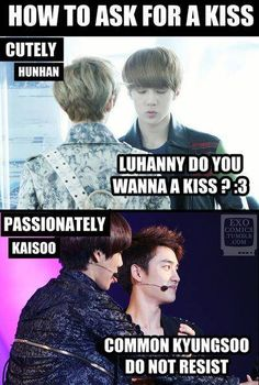 The difference between #Kaisoo and #HunHan ~ LOL ok that is kinda funny heheh