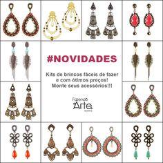 Muitos kits de brincos por menos de R$20,00!!! Monte seus acessórios pagando pouco e se divirta com esse maravilhoso hobby!!! :) www.fazendoartebijuterias.com.br