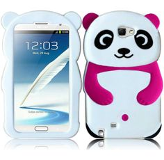 Hot Pink Panda Silicone Jelly Skin Cover Case for Samsung Galaxy Note 2 II N7100