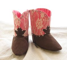 Pink Lace Baby Cowgirl Boots with Bling by EmSewCrazy on Etsy