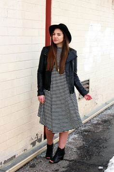 black and white @My Sister's Closet Boutique midi dress, black faux leather jacket, @Brixton hat, @STEVE MADDEN booties