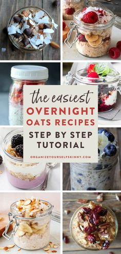 The Easiest Overnight Oats Recipes | Meal Prep for Beginners - Looking for some healthy breakfast ideas that are quick and easy? If you are wondering how to make overnight oats, this easy tutorial is for you! You will find a step by step guide with photos showing exactly how to make a jar of healthy oatmeal. BONUS: I've also included all of my favorite overnight oats recipes for you to try! Organize Yourself Skinny | Oatmeal Breakfast | Fall Recipes #healthyeating #breakfast #mealprep Healthy Freezer Meals, Healthy Meals For Two, Healthy Eating Recipes, Healthy Foods To Eat, Healthy Breakfast Smoothies, Healthy Breakfast Recipes, Breakfast Ideas, Easy Overnight Oats, Meal Prep For Beginners