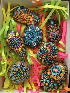 Dot art paint rocks