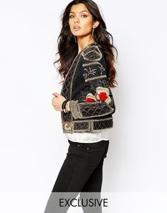 A Star Is Born Allover Luxe Embellished Trophy Jacket in Black UK 6/EU 34/US 2